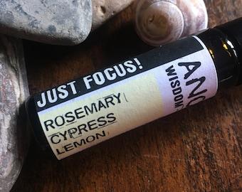 Essential Oil Roll On - Just Focus Blend - Rosemary - Cypress - Lemon