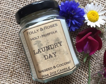 Laundry Day Handpoured Natural Wax Candle - 2oz Folly Favourites Collection