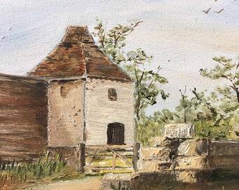 Dovecote at Litlington, Cambridgeshire - Oil on Panel Framed Miniature