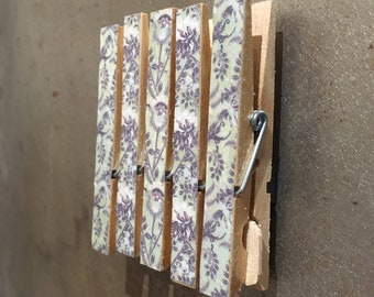 Magnetic Memo Pegs - Pale Blue Green with Glitter Glaze