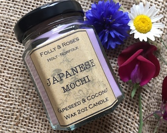 Japanese Mochi Handpoured Natural Wax Candle - 2oz Folly Favourites Collection
