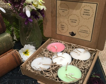 English Afternoon Tea Collection - Five Handpoured Natural Wax Tealights - Rapeseed & Coconut wax blend.