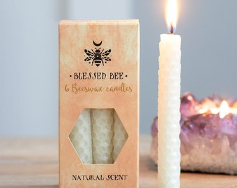 Cream Beeswax Ritual Candles for Spellwork and Manifestation - Moon Magic