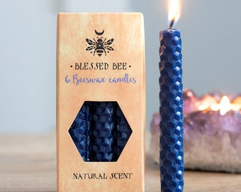 Blue Beeswax Ritual Candles for Spellwork and Manifestation - Wisdom