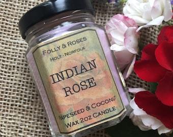 Indian Rose -Rose Garden Collection Natural Wax - 2oz Candle Jar 22 hour burn