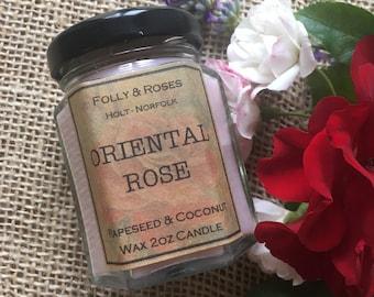 Oriental Rose  - F&R Rose Garden Collection Natural Wax - 2oz Candle Jar 22 hour burn