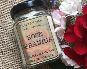 Rose Geranium  -Rose Garden Collection Natural Wax - 2oz Candle Jar 22 hour burn