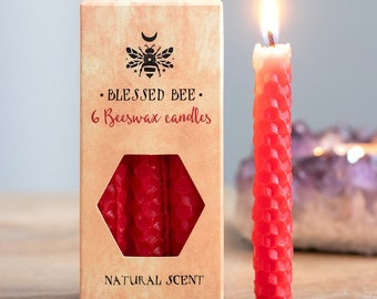 Red Beeswax Ritual Candles for Spellwork and Manifestation - Love