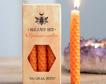 Orange Beeswax Ritual Candles for Spellwork and Manifestation - Confidence