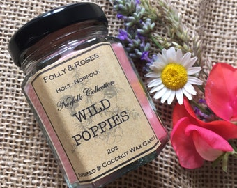 Wild Poppies Natural Wax Candle - 2oz Container - The Norfolk Collection (Previously Poppy Fields)