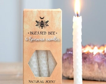 White Beeswax Ritual Candles for Spellwork and Manifestation - Happiness