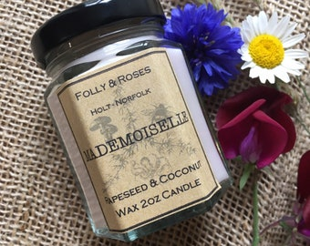 Mademoiselle Handpoured Natural Wax Candle - 2oz Folly Favourites Collection