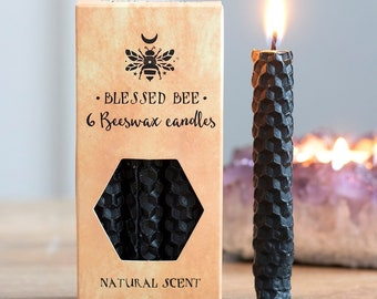 Black Beeswax Ritual Candles for Spellwork and Manifestation - Protection