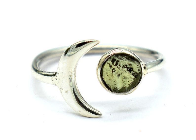 Elegant Raw Moldavite Crescent Moon Ring 925 Sterling Silver Moldavite Ring Genuine Moldavite Ring Natural Moldavite Ring Gift For Her