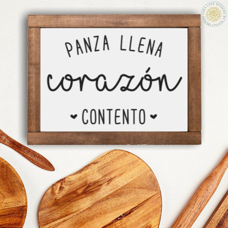 Panza Llena Sign Spanish Farmhouse Kitchen Signs Spanish D\u00e9cor