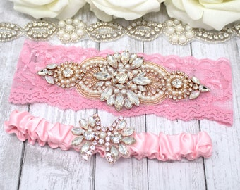 Lilac Purple Wedding Garter Lace with Rose Gold Rhinestone Flower and Pearls /& Satin Ribbon Keepsake Garter with Rose Gold Pearl Rhinestones