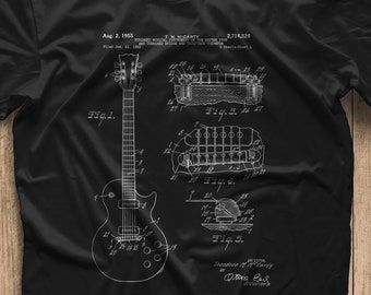 74ad7101b Gibson Les Paul Patent T Shirt, Guitar Shirt, Guitar Player Gift, Electric  Guitar,Mens Gift Idea, unique gift idea