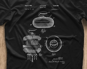 56698fa7 Curling Stone 1965 Patent T Shirt, Patent Art, T Shirt Vintage, Patent T  Shirt, sports shirt, gift, unique gift