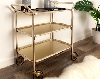 SOLD Mid Century Retro Drinks Trolley / Cocktail Cabinet Gold