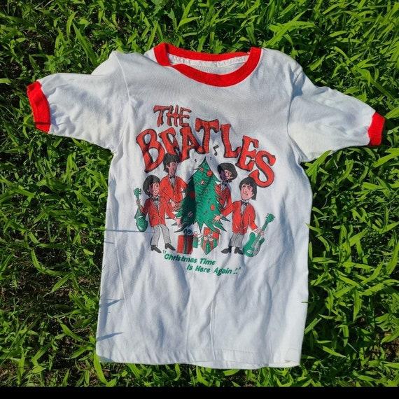 RARE 70s The Beatles Christmas Ringer Tshirt