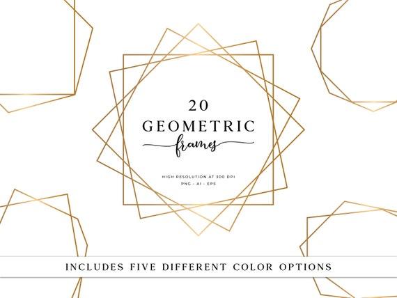 20 Geometric Frames Polygonal Frames Gold Frames Wedding Etsy