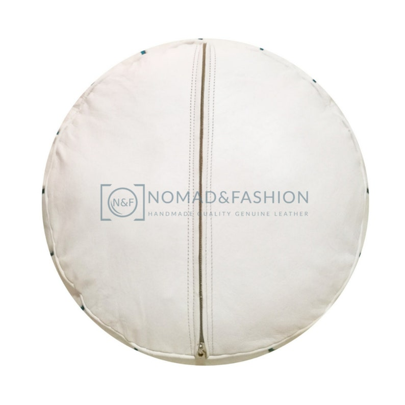 Premium handmade leather Moroccan pouf ottoman round poof White stitched Blue sky customized color