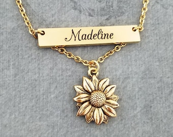93c67d9f28 Sunflower Necklace STAINLESS STEEL Bar Necklace Personalized Jewelry Name  Necklace Engraved Necklace Engraved Jewelry Custom Necklace Gift