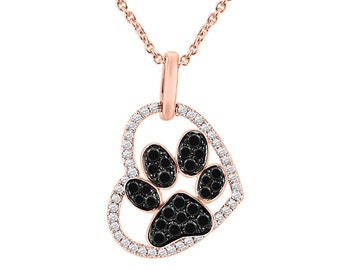 5c90c51ae8c 14K Solid Gold Heart Paw Print Necklace