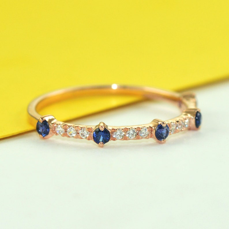 Natural Genuine Blue Sapphire Wedding Band Solid 14k White Gold Half Eternity Stacking Ring Engagement Ring Minimalist Thin September Birthstone Bridal Anniversary Gift Jewelry for Her