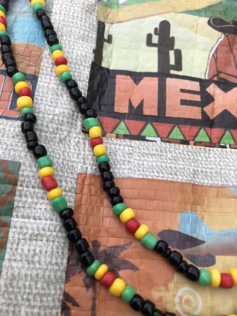 Rasta Reggae Glass  Beads Necklace