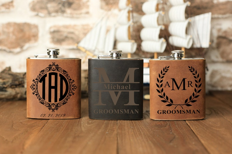 Engraved 7oz Stainless Steel Flask Custom Personalized Flask Gift Set 1 Groomsman Gifts for Wedding Wedding Favor Customized Flask Set Groomsmen Gift