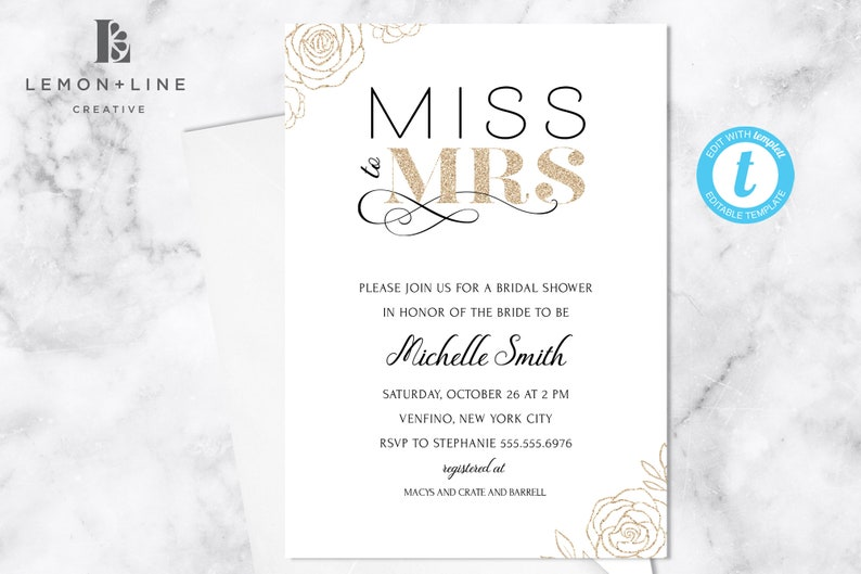 Black and Gold Bridal Shower Template Gold Glitter Invite Editable INSTANT DOWNLOAD Printable Black and Gold Wedding Shower Invite
