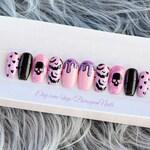 Bubblegum • Creepy Cute Pastel Goth Press On Nails   Kawaii Grunge Nail Art Pink Purple   Fake Nails   False Nails   Skull   Glue On Nails