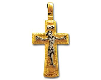 Two Sides with Jesus Christ /& Prayer Stainless steel chain and Luxury Gift Box incl. Crucifix Pendant Handmade DOUBLE GILDED Silver
