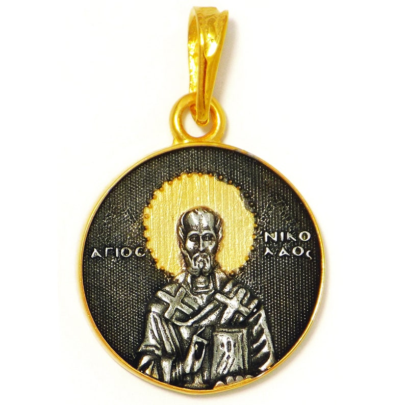 Saint Nicholas and Saint Spyridon Pendant Handmade DOUBLE GILDED Silver Stainless steel chain and Gift Box incl. Two Sides