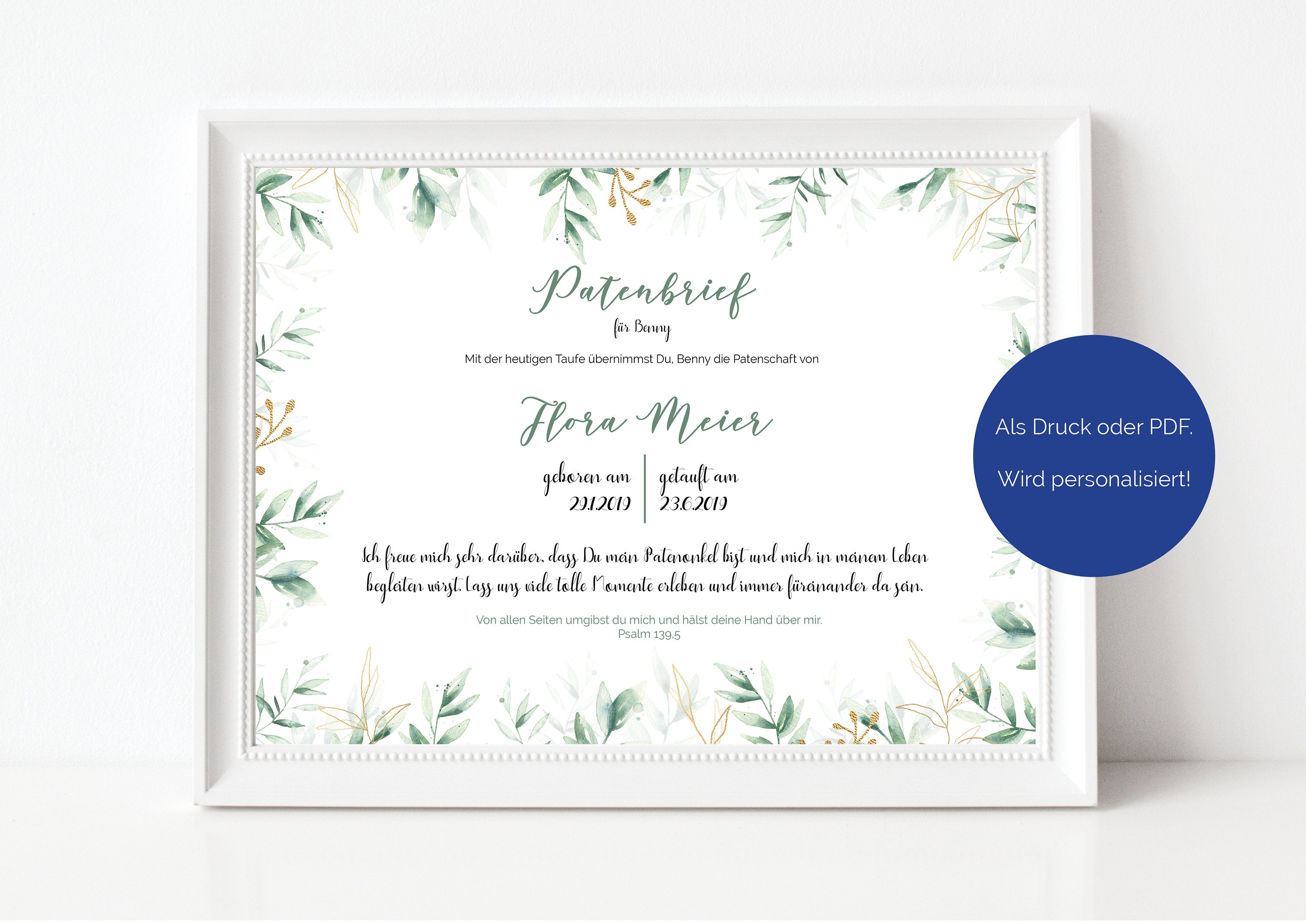 Sponsorship Letter Sponsorship For The Baptism Green Leaves And Golden Elements Is Personalized As Print Or Pdf
