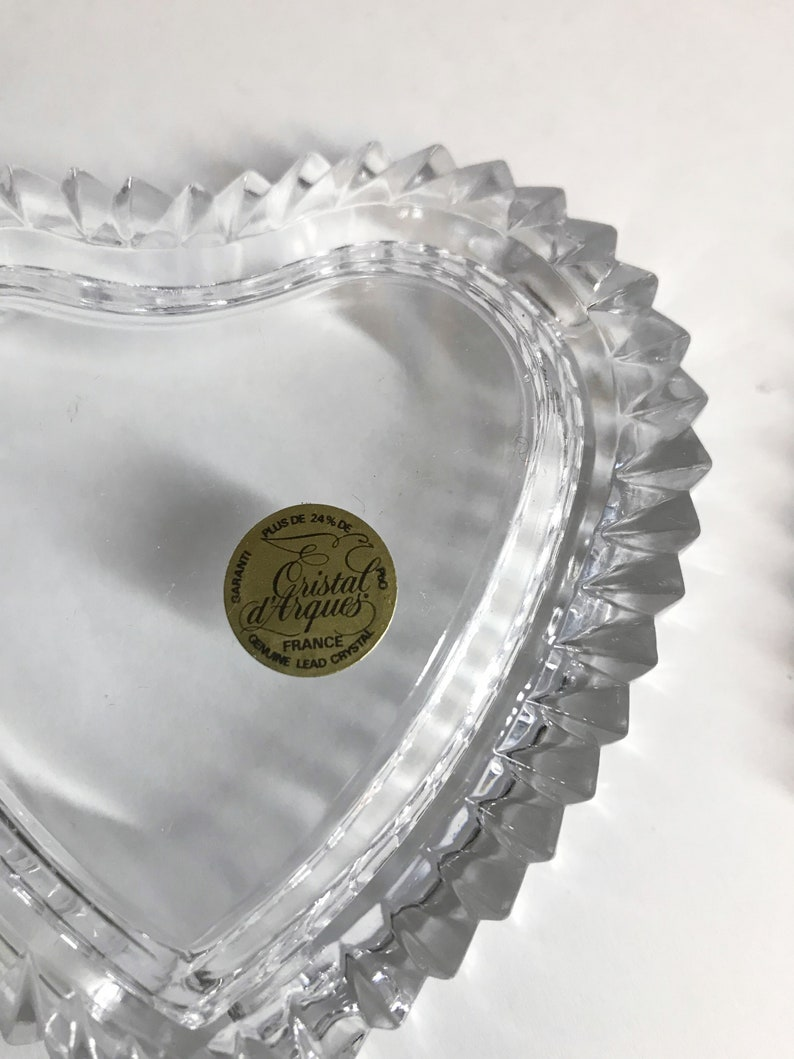 Cristal d/' Arques France 1980/'s Vintage crystal glass heart shaped jewellery box