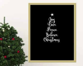 Black Printable Poster Christmas Wall Print Xmas Tree Quote Minimalist Xmas Art Modern Digital Art Xmas Typography Holiday Season Decor