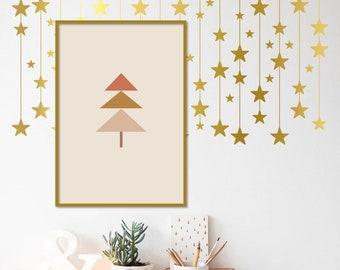 Boho Christmas Tree Printable Wall Art Minimalist Xmas Print Modern Wall Print Xmas Illustration Winter Artwork Abstract Xmas Tree Poster