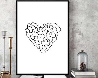 Abstract Heart Shape Digital Download Art Printable Drawing Modern Line Poster Minimalist Gallery Black White Decor Geometric Line Sketch