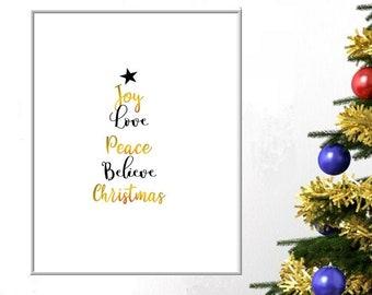 Joy Love Peace Believe Christmas Quote DIY Printable Wall Art Christmas Gift Minimalist Typography Poster Xmas Home Decor Holiday Digital