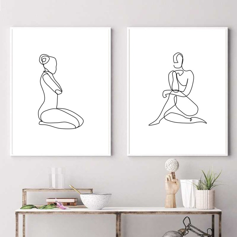 One Line Art Print Set of 2 Female Figure Outline Woman Body Sketch Abstract Line Drawing Printable Silhouette Minimalist Posters Modern Art