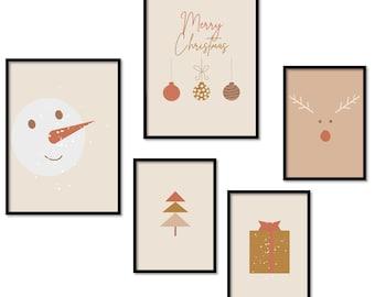 Set of 5 Xmas Prints Holidays Home Decor Christmas Bundle Printable Xmas Gallery Wall Boho Posters Set Boho Christmas Modern Digital Artwork
