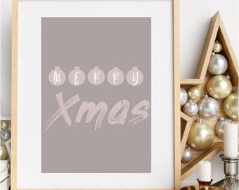 Merry Xmas Print Christmas Wall Decor Printable Xmas Art Boho Holiday Decor Modern Xmas Poster Abstract Christmas Winter Home Decor Digital