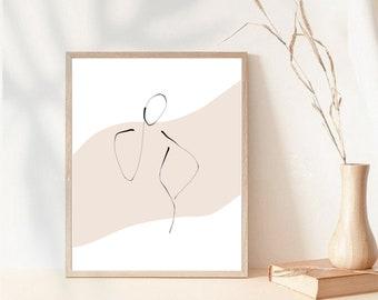 Female Line Sketch Modern Printable Boho Home Decor Beige Wall Print Neutral Colors Print Minimalist Decor Digital Artwork Woman Body Figure