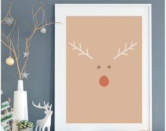 Boho Reindeer Print Christmas Printable Christmas Deer Modern Boho Print Minimalist Xmas Antlers Digital Artwork Gallery Wall Print
