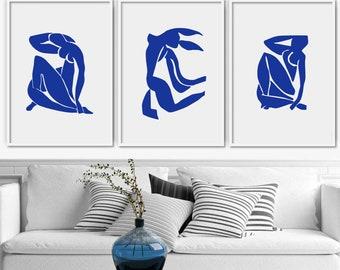Blue Matisse Set of 3 Wall Prints Living Room Bedroom Wall Decor Modern Printable Artwork Bundle Minimalist Posters Classic Gallery Painting