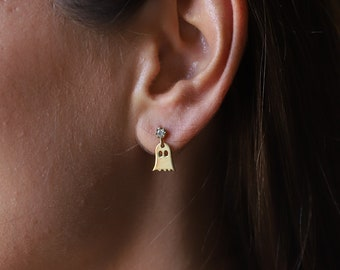 Cute Ghost Stud Earrings Halloween Gifts, Dainty Gold Stud Earrings with Cubic Zirconia, Gifts for Her