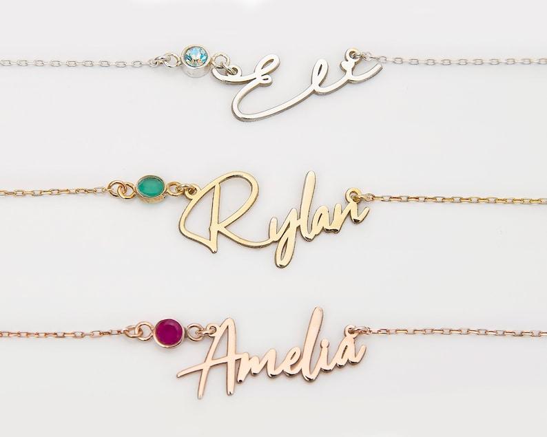 Custom Name Choker with Birthstone Everyday Name Necklace Name Necklace with Birthstone Personalized Name Necklace Custom Name Necklace