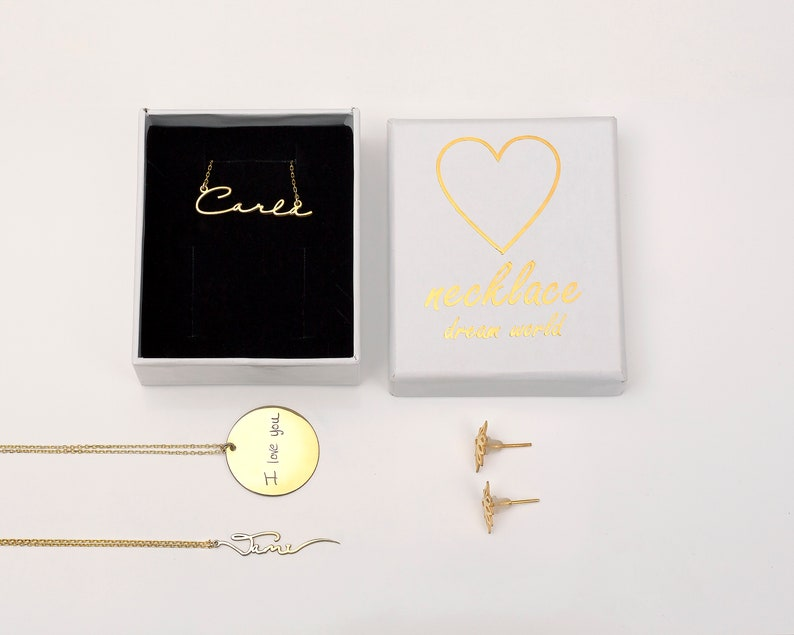 14K Solid Gold Name Necklace \u2022 Personalized Name with Heart Necklace \u2022 Custom Name Necklace \u2022 Personalized Jewelry White Gold \u2022 Gift for Her